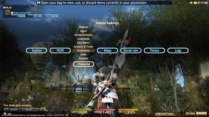 A Realm Reborns PlayStation interface, navigated by a cross,bar system.