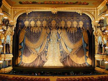 The stage of the Mariinsky Theatre with Aleksandr Golovin's luxury curtain of 1914