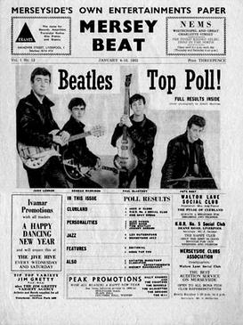 The front cover of Mersey Beat, showing the wi...