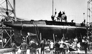 The lead boat of the U-27 class of submarines, SM U-27, is seen here at her launch on 19 October 1916.