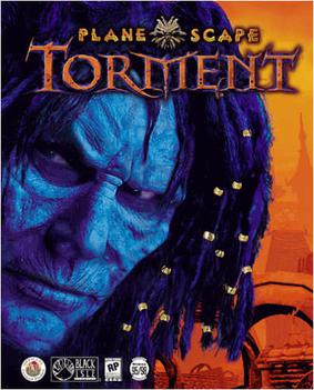 Game box art of a man's face—with rough features and shaded blue—looking out of the box against an orange background of a city. The title is justified middle and top in stylized letters.