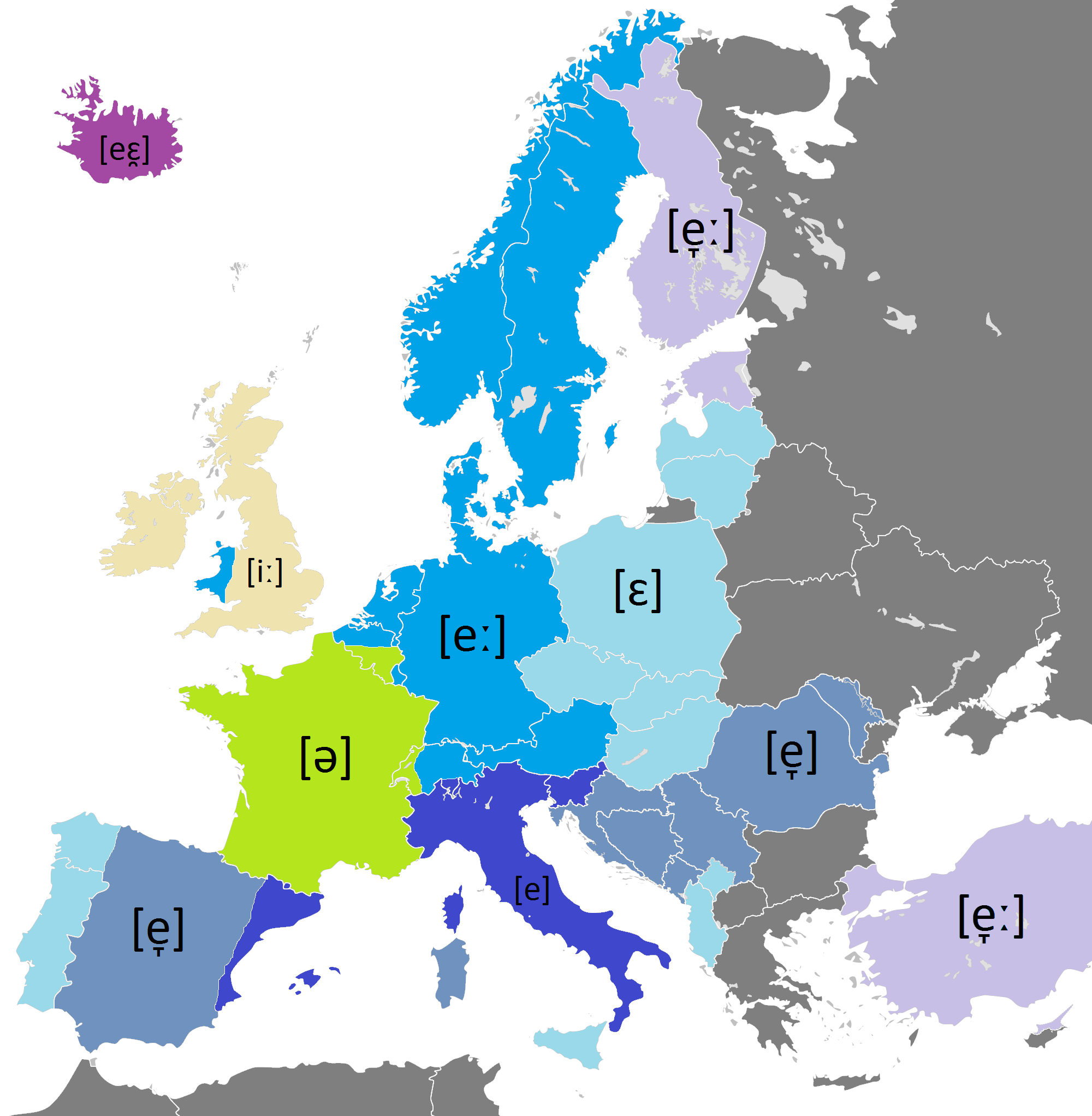 pronunciation of the name of the letter e in european languages