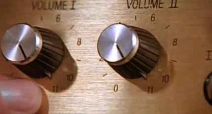Tufnel's amplifier dials that go up to eleven; this scene became the origin of the term up to eleven. Spinal Tap - Up to Eleven.jpg