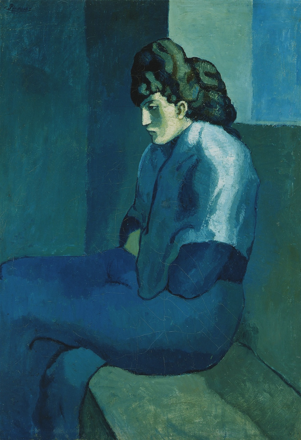 File pablo picasso 1902 03 femme assise melancholy for Famous monochromatic paintings