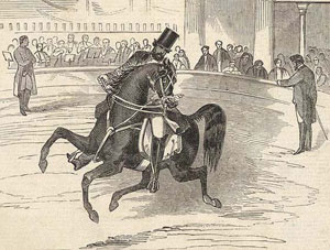 Pablo Fanque performing at Astley's Amphitheatre, 1847 Fanque at Astley's.jpg