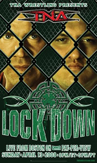 A poster with a green logo saying Lockdown with a shamrock above it. Poster also features two adult white males standing behind chainlink fencing.