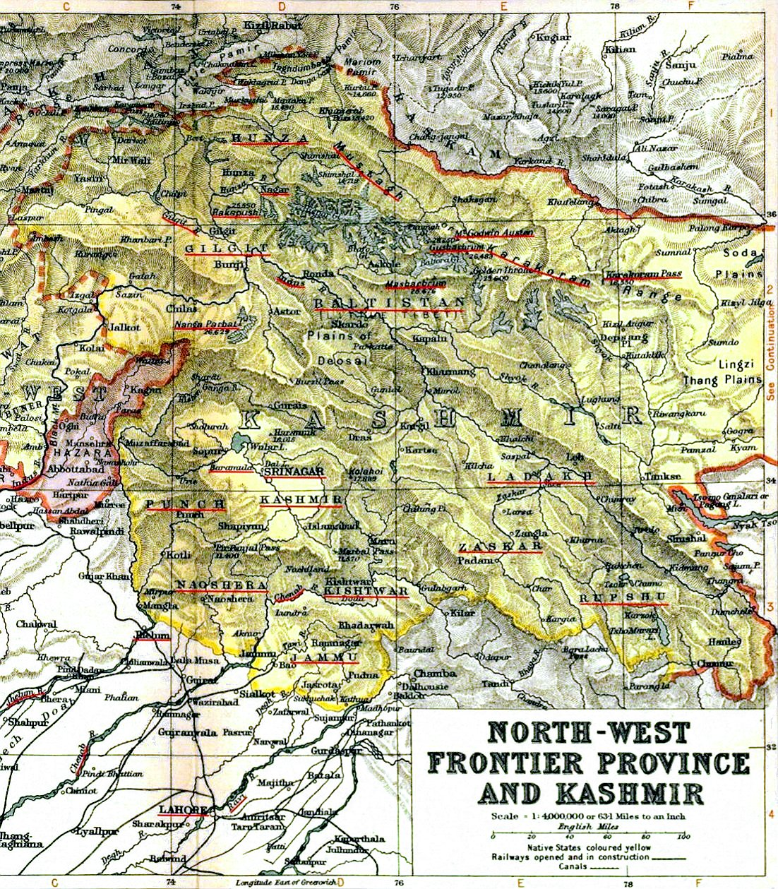 1909 Map of the Princely State of Kashmir and Jammu. The names of regions, important cities, rivers, and mountains are underlined in red.