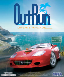 "Artwork of a vertical rectangular advertisement. The top portion reads ""Out Run"" with the words ""Online Arcade"" beneath it. The foreground consists of a red car on a grey pavement, and the background is a curved sea-side road overlooking the ocean."