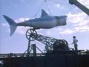 The mechanical shark, attached to the tower