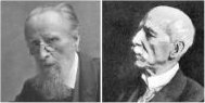 two elderly Victorian men in head and shoulders shots, the first is bearded; the other is clean-shaven and bald
