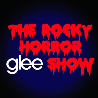 "The words ""The Rocky Horror Glee Show"" are written in bold on a blue-black background. All words are red with the exception of ""Glee"", which is white."