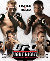 A poster or logo for UFC Fight Night: Thomas vs Florian.