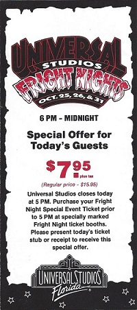 program cover for fright nights at universal studios florida 1991