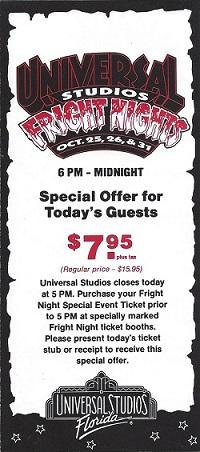 program cover for fright nights hhn1 at universal studios florida 1991 halloween horror - Price Of Halloween Horror Nights