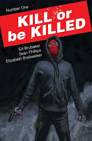 On the cover of the first issue, Dylan wears a dark hoodie and red mask as he holds a gun by his side. He is surrounded by mist against a black background.