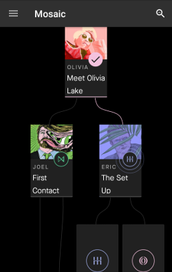 The main navigational flow between clips – seen content has a checkmark, new content is shown with viewpoint characters and titles, and future unlockable content only has a character-specific icon.