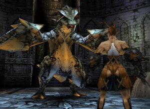 Ashley Riot faces a wyvern during the opening sequence. The game directly switches between event cutscenes and gameplay using the same character models. Vs-ashleywyvern.jpg