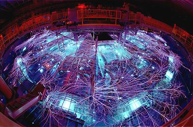 The Z machine at Sandia National Laboratories in Albuquerque, New Mexico, U.S.A., set a record man-made temperature for a bulk quantity of matter of greater than two billion kelvins.  Courtesy, Sandia National Laboratories.