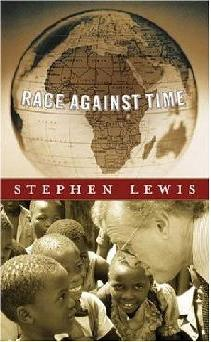 The book cover shows an image of a globe centered on Africa and an image of author Stephen Lewis interacting with several young children