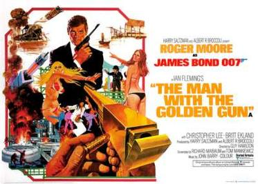 "A man in a dinner jacket holding a pistol is in the centre of the picture. Various scenes and images surround him, including two women in bikinis, a midget with a pistol, a car stunt and explosions. At the bottom right, oversized and pointing towards the man in the dinner jacket, is a golden gun, with a hand holding a bullet, about to load the gun. The top of the picture has the words ""ROGER MOORE as JAMES BOND 007"". At the bottom are the words ""THE MAN WITH THE GOLDEN GUN""."