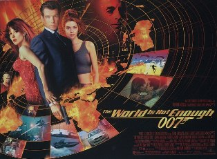 Poster shows a circle with Bond flanked by two women at the centre. Globs of fire and action shots from the film are below. The film's name is at the bottom.