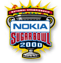 Grey cup with prominent handles backed by yellow celebratory explosion; in front, Nokia Sugar Bowl 2000; above in red banner, National Championship