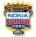 Šedý pohár s předními madly krytých žluté slavnostní výbuchu;  vpředu, Nokia Sugar Bowl 2000;  nad červeným praporem, National Championship