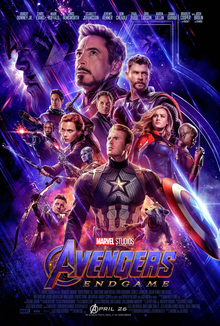 "The theatrical release poster for ""Avengers: Endgame"". The characters depicted are seen on a starry background."