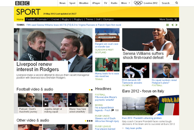 BBC Sport website as it appeared in May 2012. BBC Sport Online homepage 29 May 2012.png
