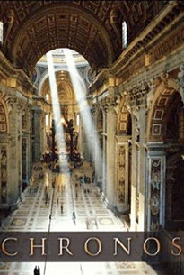 "A view of a large hallway inside a building with Renaissance architecture. Two beams of light shine through the ceiling in the middle end of the hallway. The title ""CHRONOS"" is displayed at the bottom."