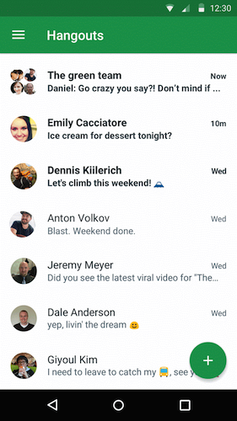 Screenshot showing Google Hangouts
