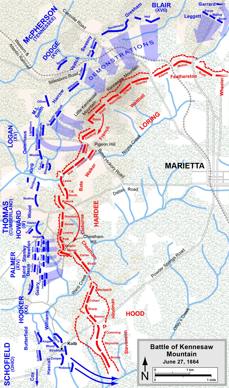 Map Of Georgia Kennesaw.Battle Of Kennesaw Mountain Wikipedia