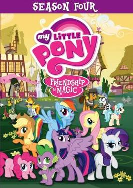 DVD cover for Season 4, featuring the main characters (left to right) Pinkie Pie, Applejack, Spike, Rainbow Dash, Twilight Sparkle, Fluttershy, and Rarity; and the season's &quotkey bearers&quot in the background, Discord, Spitfire, Cheese Sandwich, Silver Shill, Coco Pommel, and Seabreeze - My Little Pony: Friendship Is Magic (season 4)