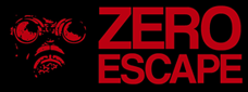 "The logo shows a posterized image of the Zero character's gas mask and the text ""Zero Escape""; both are in red, and on a black background."