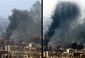 Adnan's infamous digitally manipulated photograph of the aftermath of an IDF attack on Beirut. (Smoke was added.) Was the intent to deceive to better reflect the events as perceived by the photographer?