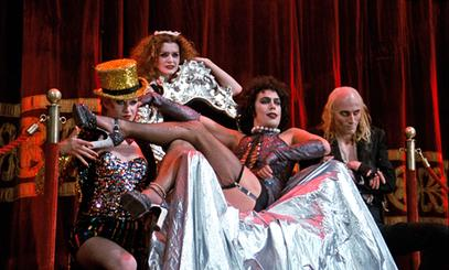 Little Nell, Patricia Quinn, Tim Curry, and Richard O'Brien in The Rocky Horror Picture Show. All were in the original stage show.