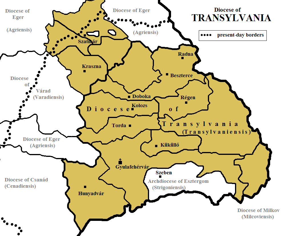 Diocesan division of Transylvania in the 13th century within the Kingdom of Hungary