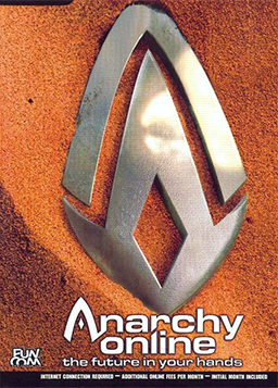 "Two complementary metal forms are shown partially buried in red sand. Below them is a text: ""Anarchy Online: The Future In Your Hands""."