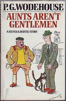 Front cover of first edition. Cover illustration: Major Plank and Bertie Wooster stand outside. A horse stable lies in the distant background. Major Plank, dressed in the equestrian apparel of the English countryside, grips his riding crop as he yells red-faced at Bertie. Bertie looks helpless and gaumless, with his mouth hanging slightly open. He wears a checked, green suit, and reaches weakly toward a cat who is rubbing against his legs.