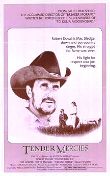 "A movie poster with a large picture of a bearded man wearing a cowboy hat, suspended in the background of a photo of a much smaller scaled woman and young boy talking in a field. A tagline beside the man reads ""Robert Duvall is Mac Sledge, down and out country singer. His struggle for fame was over. His fight for respect was just beginning."" At the bottom, the words ""Tender Mercies"" appear, along with much smaller credits text. The top of the poster includes additional promotional text."
