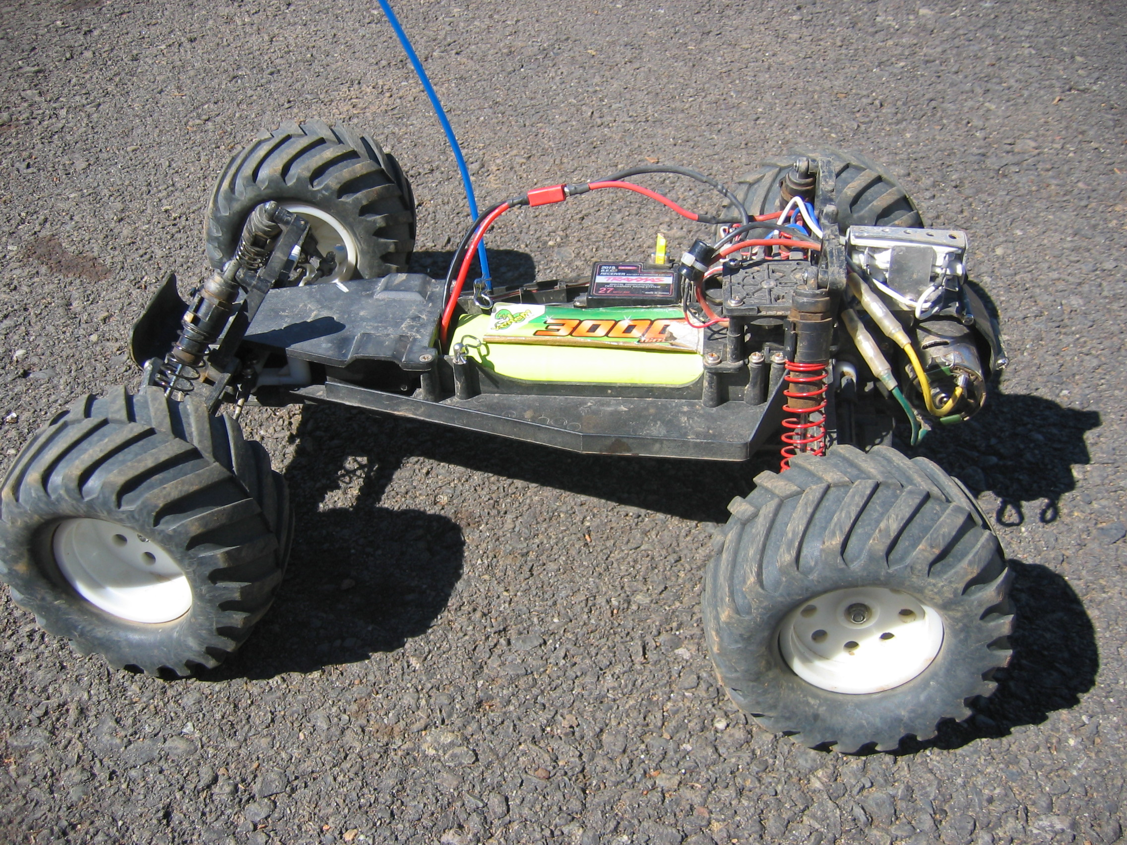 A Traxxas Electric Rustler A Rear Wheel Drive Stadium Truck without body