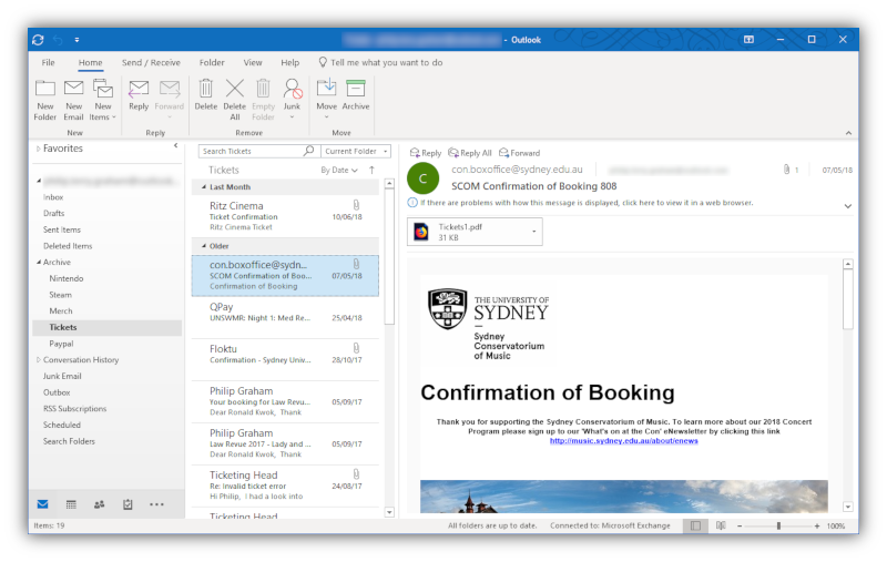 An email inbox in Outlook (365-only UI version), running on Windows 10