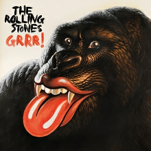 A painting of an ape with the Rolling Stones' lips and tongue logo as his mouth