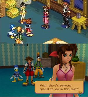 Comparison of a scene involving Sora, Donald, Goofy and Aerith on the GBA (top) and the PS2 (bottom). Comparison Chain of Memories.jpg
