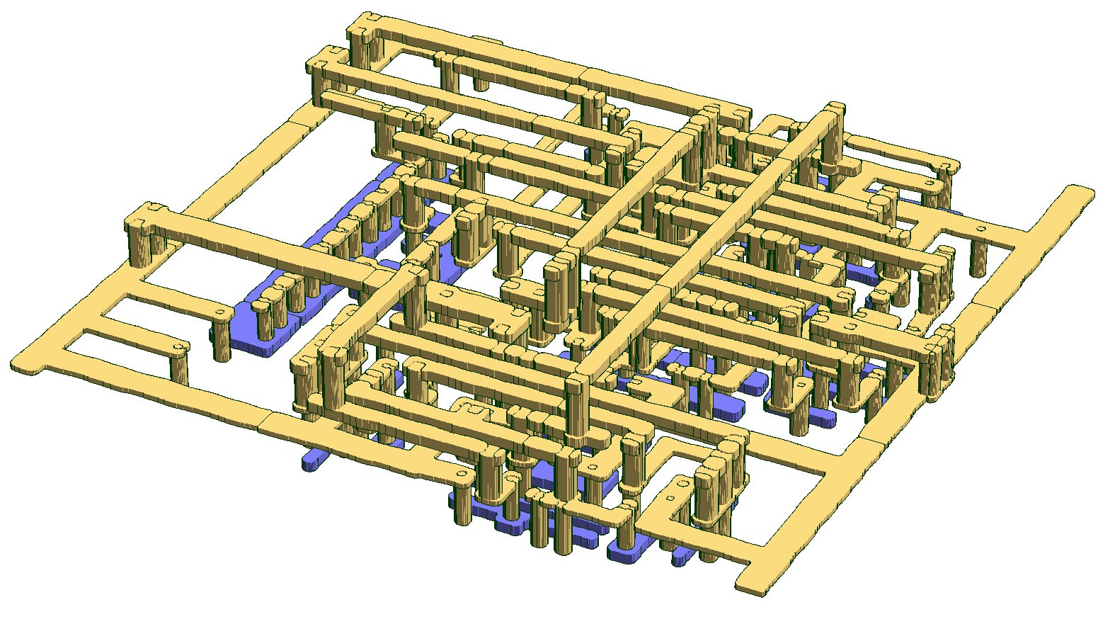 Simulated lithographic and other fabrication defects visible in a small standard cell.