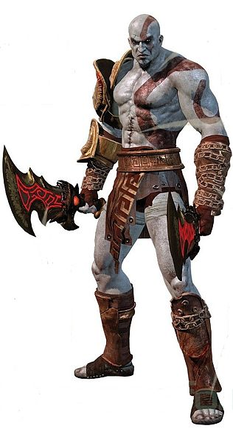 Kratos Initial Appearance In God Of War III And As He Appeared Throughout Most II Wielding The Blades Athena With Golden Fleece On