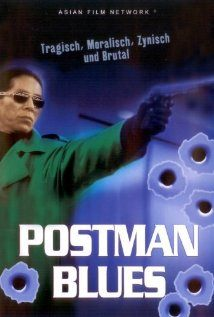 A man is holding a pistol in his left hand and 6 gunshots are seen in the forefront with the words Postman Blues in white color in front of the man