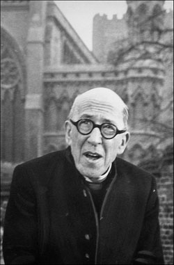 Robertson Hare as the Ven. Henry Blunt, Archdeacon of St. Ogg's, in All Gas and Gaiters, late 1960s