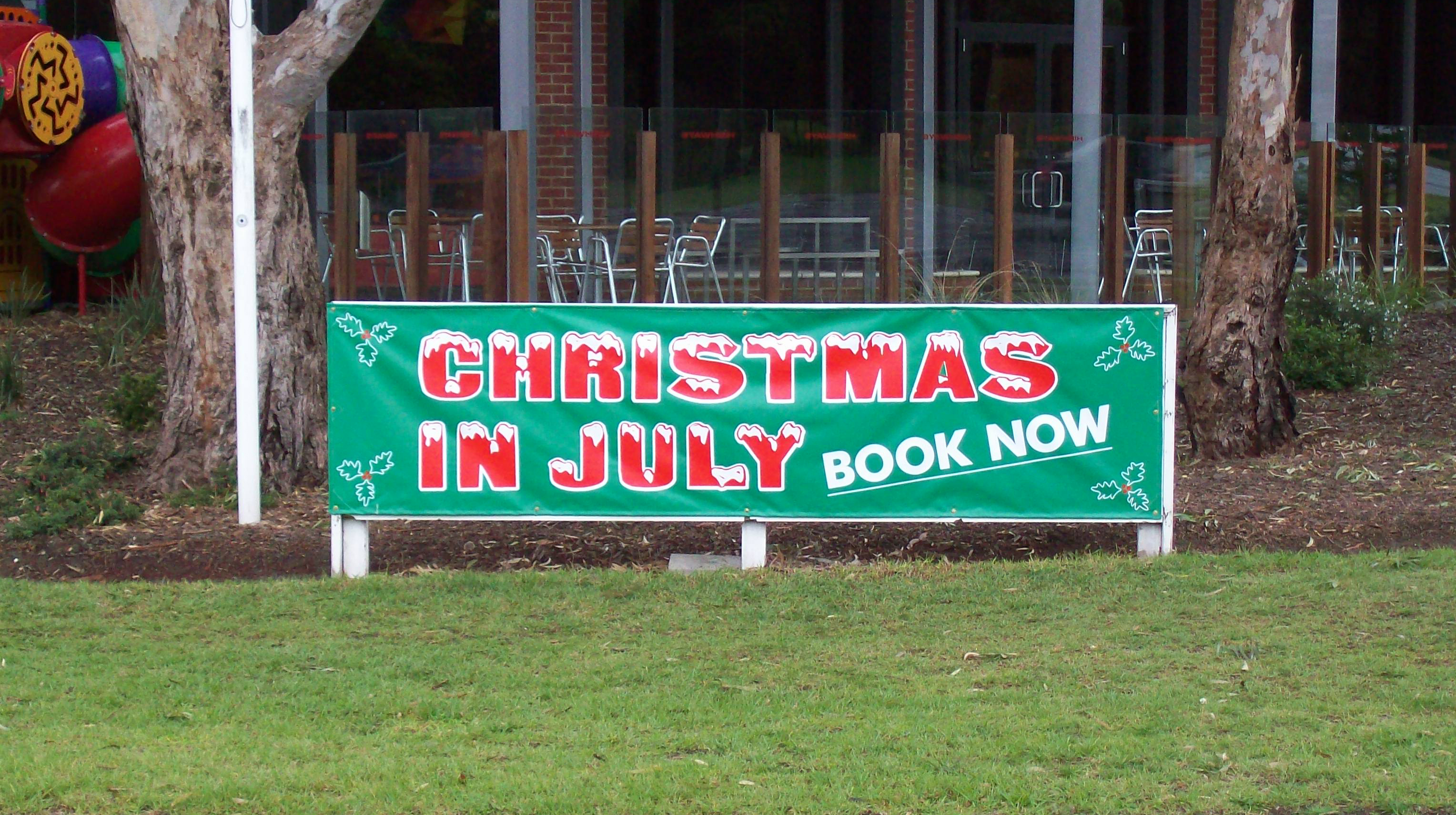 christmas in july promotional banner in melbourne australia