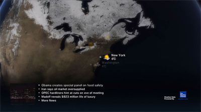 The Life with PlayStation application showing weather forecasts and news headlines for New York City. Screenshot taken at approximately 8pm PST. LifeWithPlayStation Weather.jpg